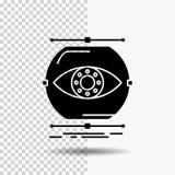 visualize, concepção, monitoração, monitoração, ícone do Glyph da visão no fundo transparente ?cone preto ilustração royalty free