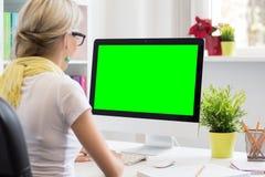 Visualizzatore del computer in bianco per la vostra propria presentazione Immagine Stock Libera da Diritti