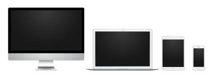 Visualizzatore del computer, computer portatile, cuscinetto e telefono bianchi con lo schermo in bianco, per progettazione, prese Fotografie Stock