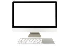 Visualizzatore del computer con lo schermo in bianco e la tastiera senza fili Fotografia Stock Libera da Diritti