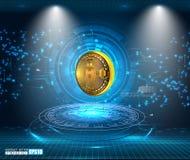 Visualizzazione astratta di tecnologia di Bitcoin illustrazione di stock