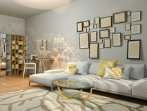 visualizzazione 3D di interior design che vive in un appartamento di studio Fotografie Stock