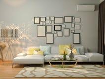 visualizzazione 3D di interior design che vive in un appartamento di studio Fotografie Stock Libere da Diritti