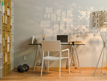 visualizzazione 3D di interior design che vive in un appartamento di studio Fotografia Stock Libera da Diritti