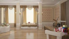 visualizzazione 3D di un interior design del forno immagini stock libere da diritti