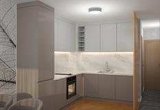 visualizzazione 3D di un interior design del forno fotografia stock