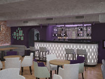 visualizzazione 3D di un interior design della barra immagini stock libere da diritti