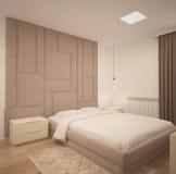 visualizzazione 3D di un interior design della camera da letto fotografie stock