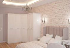 visualizzazione 3D di un interior design della camera da letto fotografia stock