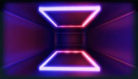 visualizzazione 3d Figura geometrica alla luce al neon contro un tunnel scuro Incandescenza del laser illustrazione vettoriale