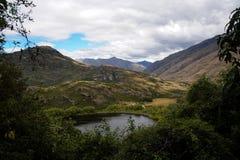 Visualizzazione dalla piattaforma di visualizzazione di Diamond Lake, Nuova Zelanda Fotografie Stock
