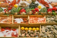 Visualizzazione dei frutti di mare Fotografie Stock Libere da Diritti