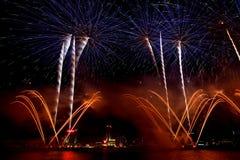 Visualizzazione dei fuochi d'artificio dell'obiettivo di Detroit Immagini Stock