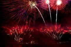 Visualizzazione dei fuochi d'artificio dell'obiettivo di Detroit Fotografie Stock Libere da Diritti