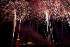 Visualizzazione dei fuochi d'artificio dell'obiettivo di Detroit Immagine Stock Libera da Diritti