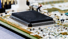 Visualizzazione del dettaglio di mainboard del computer, primo piano Fotografia Stock Libera da Diritti