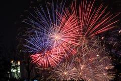 Visualizzazione del fuoco d'artificio alla notte fotografia stock