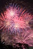 Visualizzazione del fuoco d'artificio alla notte immagine stock