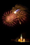 Visualizzazione del fuoco d'artificio in Olsztyn Fotografia Stock