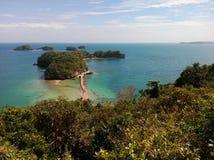 Visualizzazione dell'isola vergine dalla piattaforma di visualizzazione dell'isola del ` s del governatore, isole parco nazionale Immagini Stock