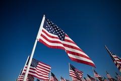 Visualizzazione della bandiera americana per lle vacanze nazionali Fotografie Stock Libere da Diritti