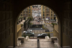 Visualizzazione della porta Marsiglia di Vieux Fotografie Stock