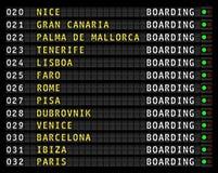 Visualizzazione delle informazioni di volo dell'aeroporto, destinazioni di festa illustrazione di stock