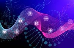 Visualizzazione di Big Data con l'elica del DNA e le icone mediche illustrazione vettoriale