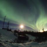 Visualizzazione di Borealis dell'aurora Fotografia Stock