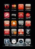 Visualizzazione di Iphone con l'accumulazione dei apps Fotografia Stock Libera da Diritti