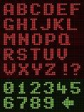 Visualizzazione di LED alfanumerica della fonte tipografica di alfabeto sul nero illustrazione di stock
