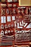 Visualizzazione di legno dell'annata della strumentazione del hardware Fotografia Stock Libera da Diritti