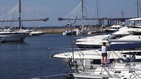Visualizzazione di porta con gli yacht bianchi il giorno soleggiato di estate Acqua blu nave Litorale archivi video