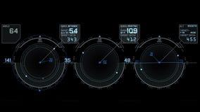 visualizzazione di tecnologia del segnale di GPS del radar 4k, navigazione del computer di dati di fantascienza di scienza archivi video