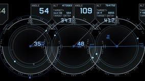 visualizzazione di tecnologia del segnale di GPS del radar 4k, navigazione del computer di dati di fantascienza di scienza illustrazione di stock