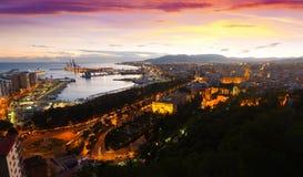 Visualizzazione di tramonto di Malaga con porta fotografia stock