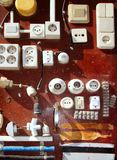 Visualizzazione eclettica dell'annata della strumentazione del hardware Fotografia Stock Libera da Diritti