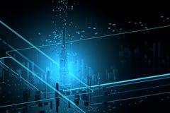 Visualizzazione futuristica di dati dei grattacieli Fotografia Stock