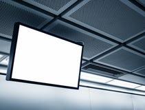 Visualizzazione LCD in bianco nella stazione della metropolitana Immagini Stock Libere da Diritti
