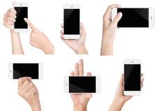 Visualizzazione moderna bianca di manifestazione dello Smart Phone della tenuta della mano isolata Fotografia Stock