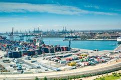 Visualizzazione qui sopra su porto marittimo a Valencia, Spagna Fotografia Stock Libera da Diritti