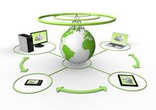 Visualizzazione senza fili della rete globale Fotografia Stock