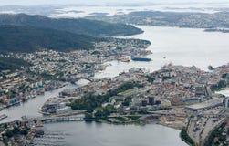 Visualizzazione sopra il porto di Bergen Fotografia Stock
