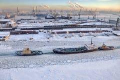 Visualizzazione superiore del canale bloccato dal ghiaccio del mare, san-Petersbu commerciale della porta Fotografia Stock