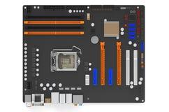 Visualizzazione superiore della scheda madre del computer Fotografia Stock