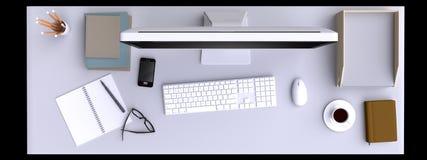 Visualizzazione superiore di area di lavoro con il computer e di altri elementi sulla tavola royalty illustrazione gratis