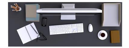 Visualizzazione superiore di area di lavoro con il computer e di altri elementi sulla tavola illustrazione vettoriale
