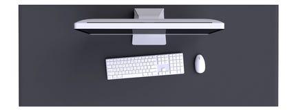 Visualizzazione superiore di area di lavoro con il computer e di altri elementi sulla tavola illustrazione di stock