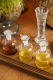 Visualizzi una fila delle bottiglie della stazione termale di aromaterapia Immagini Stock