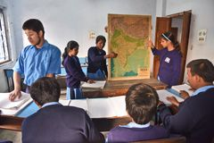Indian Blind Student At Geography Class stock images